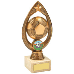 Antique Gold Marble Football Tear Trophy - 18cm