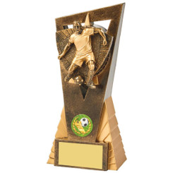 Antique Gold Male Footballer Edge Trophy - 18.5cm