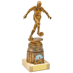 Antique Gold Kicking Female Footballer Award - 20cm