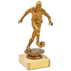 Antique Gold Kicking Male Footballer Award - 14.5cm