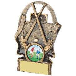 "Gold Hockey Sticks and Ball Award - 11cm (4 1/4"")"