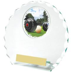Circular Jade Glass Lawn Bowls Award - 14cm