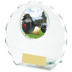 Circular Jade Glass Lawn Bowls Award - 10cm