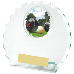 Circular Jade Glass Lawn Bowls Award - 12cm