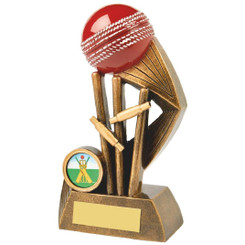 Antique Gold Cricket Award with Red Ball - 16cm