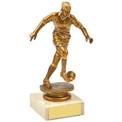 Antique Gold Kicking Female Footballer Award - 14.5cm