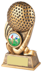 "Gold Hockey Stick and Ball Trophy - 13cm (5"")"