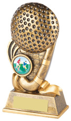 "Gold Hockey Stick and Ball Trophy - 15cm (6"")"