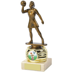 "Antique Gold Netball Awards mounted on Cream Marble - 18cm (7"")"