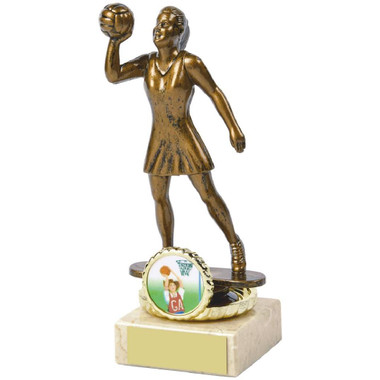 "Antique Gold Netball Awards mounted on Cream Marble - 15cm (6"")"