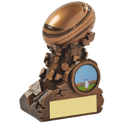 "Gold Resin Column Rugby Ball Award - 11cm (4 1/4"")"