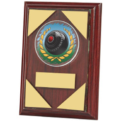 "Jade Glass mounted on Wooden Plaque for Lawn Bowls - 13cm (5"")"