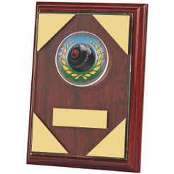 "Jade Glass mounted on Wooden Plaque for Lawn Bowls - 15cm (6"")"