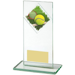 "Jade Glass Upright Tennis Award - 16cm (6 1/4"")"