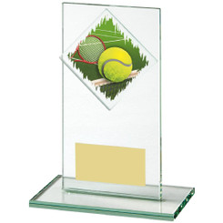 "Jade Glass Upright Tennis Award - 14cm (5 1/2"")"