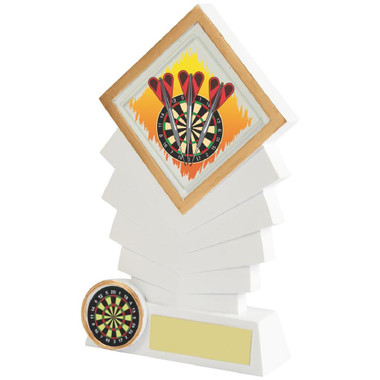 "White Resin Diamond Darts Award - 16cm (6 1/4"")"