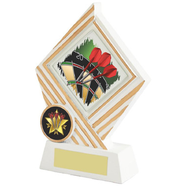 White/Gold Darts Diamond Resin Award - 15cm