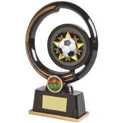 "Black and Gold Circular Football Award - 22cm (8 3/4"")"