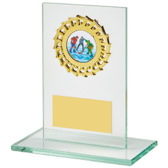 "Rectangular Jade Glass Gold Trim Award - 14cm (5 1/2"")"