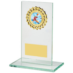 "Rectangular Jade Glass Gold Trim Award - 16cm (6 1/4"")"