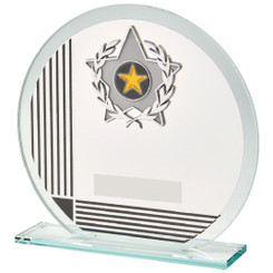 "Circular Glass/Black Stripe Star Trim Award - 17cm (6 3/4"")"