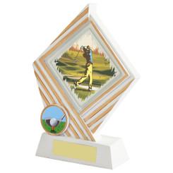 """White Resin Diamond Golf Award - 17cm (6 3/4"""")"""