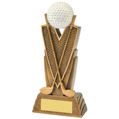 Antique Gold Golf Club/Ball Resin - 15cm