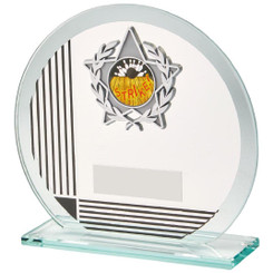 "Circular Glass/Black Stripe Star Trim Award - 13cm (5"")"