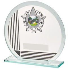 "Circular Glass/Black Stripe Star Trim Award - 15cm (6"")"