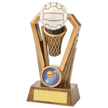 Antique Gold Netball Resin Trophy - 14.5cm