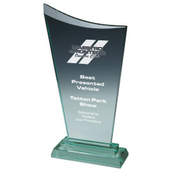 "Bevelled Jade Glass Upright Corporate Award - Arc - 25cm (10"")"