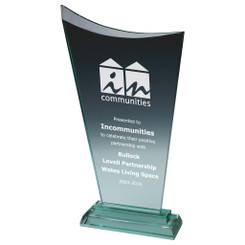 "Bevelled Jade Glass Upright Corporate Award - Arc - 29cm (11 1/2"")"