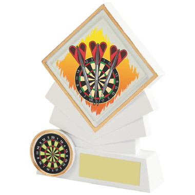 "White Resin Diamond Darts Award - 12cm (4 3/4"")"