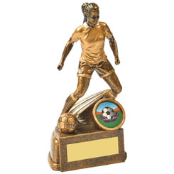 "Antique Gold Female Footballer Resin - 15cm (6"")"