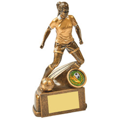 "Antique Gold Female Footballer Resin - 17cm (6 3/4"")"