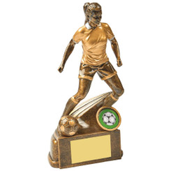 "Antique Gold Female Footballer Resin - 19cm (7 1/2"")"
