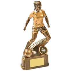 "Antique Gold Female Footballer Resin - 22cm (8 3/4"")"