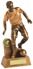 "Antique Gold Action Footballer Resin - 17.5cm (7"")"