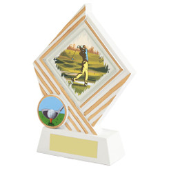 "White Resin Diamond Golf Award - 15cm (6"")"