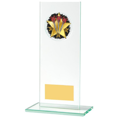 Rectangular Jade Glass Darts Stand Award - 18cm
