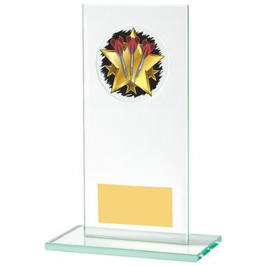 Rectangular Jade Glass Darts Stand Award - 16cm