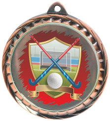 60mm Colour Print Sports Medal - Hockey - Bronze