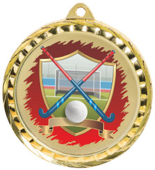 60mm Colour Print Sports Medal - Hockey - Gold