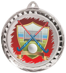 60mm Colour Print Sports Medal - Hockey - Silver