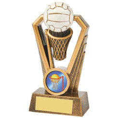 Antique Gold Netball Resin Trophy - 12.5cm