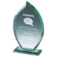 """Petal-Shaped Trophy in Jade Glass - 23cm (9"""")"""