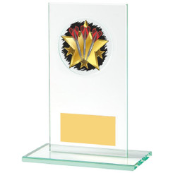Rectangular Jade Glass Darts Stand Award - 14cm
