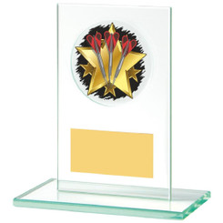Rectangular Jade Glass Darts Stand Award - 12cm