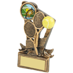 "Gold Resin Tennis Rackets Award - 11cm (4 1/4"")"