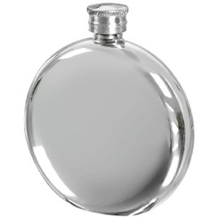 Round Pewter 6oz Hip Flask - 6oz Flask